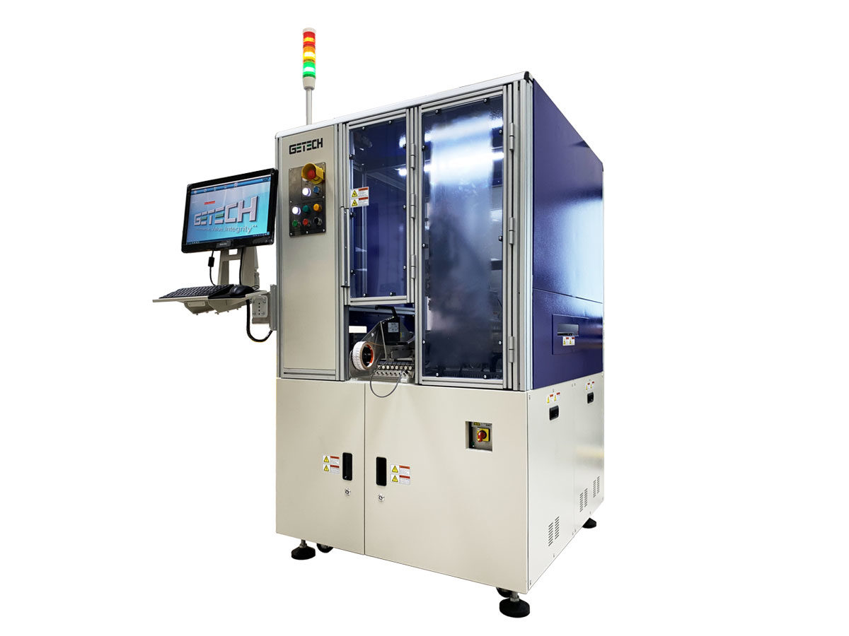 Getech Scara high speed in-line automated labelling system